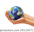 Woman's hands holding the earth globe. 29110571