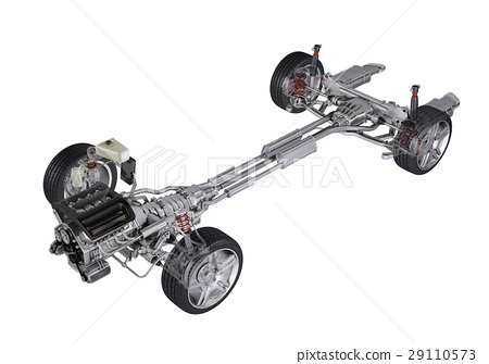 Under carriage technical 3 D rendering, of a generic sedan contemporary car. Perspective view. 29110573