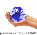 Woman's hands holding the earth globe. 29110608