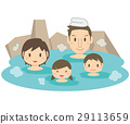 逗人喜愛的家庭家庭浴春天溫泉室外浴 29113659