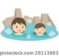 귀여운 가족 딸과 엄마 온천 노천탕 29113663