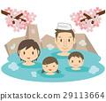 귀여운 가족 벚꽃과 온천 노천탕 29113664