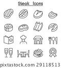 Steak icon set in thin line style 29118513