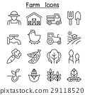 Farming & Agriculture icon set in thin line style 29118520
