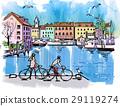 港口城市 騎自行車 街景 29119274