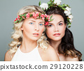 Two Beautiful Women with Long Curly Hair 29120228