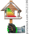 Energy Efficiency - Sign in the Shape of House 29121196
