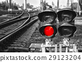 Black and white red signal on railway 29123204