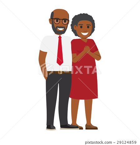 Middle-Aged Pair Standing Together Flat Vector 29124859