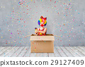 Funny kid clown playing indoor 29127409