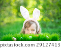 Easter bunny and eggs on green grass 29127413