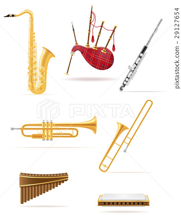 wind musical instruments set icons stock vector 29127654