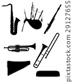 wind musical instruments icons black silhouette 29127655