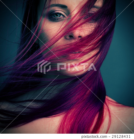 dramatic portrait attractive girl with red hair 29128431