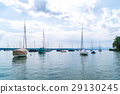 calm boats on lake Starnberger See Germany 29130245