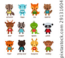 Set of isolated cartoon baby animals 29131604