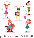 Cartoon girl and boy, baby and preschool kids 29131606