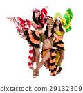 samba dancer team dancing isolated on white in 29132309