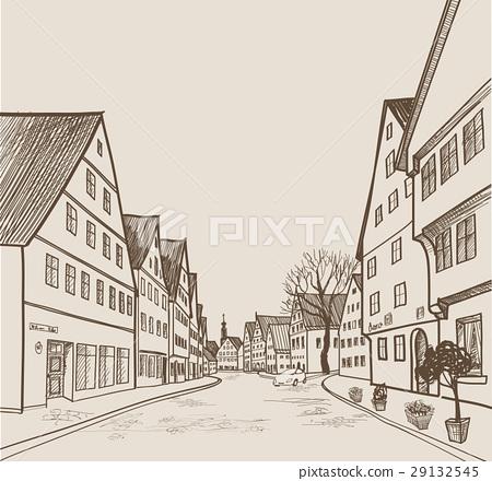 Old city street view. Cityscape retro skyline draw 29132545