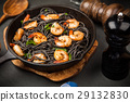Black pasta with shrimps 29132830