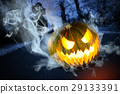 Scary halloween pumpkin in the forest at night 29133391