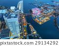 Aerial view of Yokohama city at dusk, Japan 29134292