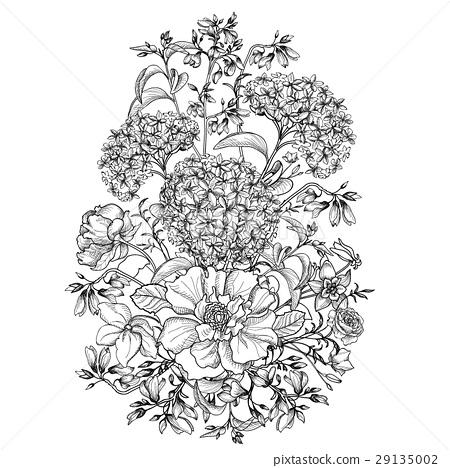 Flower Bouquet Floral Frame Flourish Greeting Card 插圖素材
