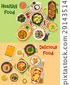 Meat, seafood dishes icon for healthy food design 29143514
