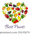 Fresh juicy fruits in heart symbol 29143674