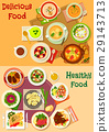Soup, salad and meat dishes icon set design 29143713