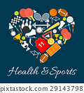 Health and sports emblem in heart shape 29143798