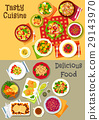 Fresh salad with vegetable, fish and meat icon set 29143970