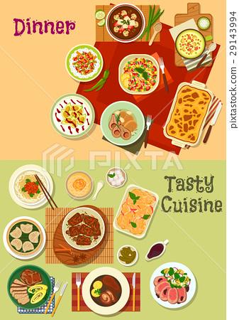 Restaurant dinner dishes icon for menu design 29143994