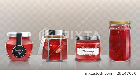 Collection of vector glass jars with jam in a 29147030