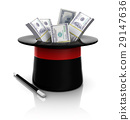 top hat and wand with dollars 29147636