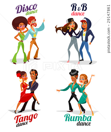 Vector cartoon of a couples dancing tango, rumba 29147861