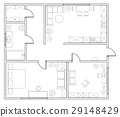 Abstract vector plan of one-bedroom apartment 29148429