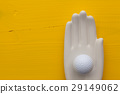 Detail of artifical hand with golf equipments 29149062