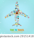 Airplane silhouette with travel flat icons. Travel 29151418