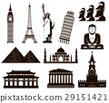 World landmarks silhouettes elements set. Vector 29151421