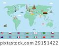 Infographic world landmarks on map. Vector 29151422