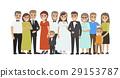 Wedding Guests Group Portrait Flat Vector Concept 29153787