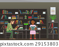 Students Reading Textbook in Library Flat Vector  29153803