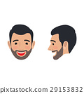 Laughing Man Face From Two Sides Flat Vector Icon 29153832