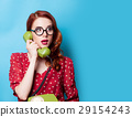 beautiful surprised young woman with retro phone 29154243