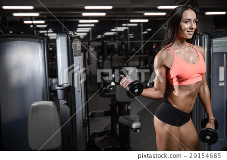 young sexy fitness woman train and exercising in gym healthy. 29154685