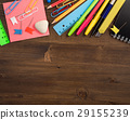 Stationery at top of table top view 29155239