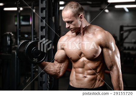 young man train in gym sexy caucasian man 29155720