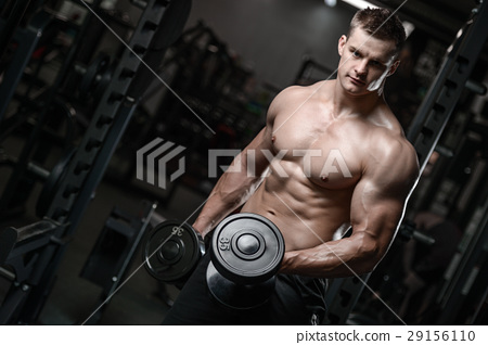 young man train in gym healthcare lifestyle sexy caucasian man 29156110