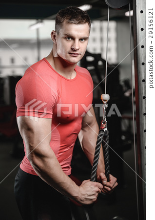 young man train in gym healthcare lifestyle sexy caucasian man 29156121